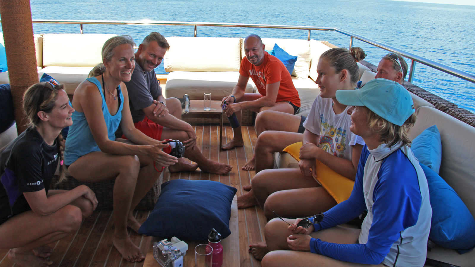 Aboard at ScubaSpa in order to help the guest to approach and learn more about whales and dolphins and other marine life